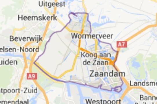 Gemeente Zaanstad - kaartje